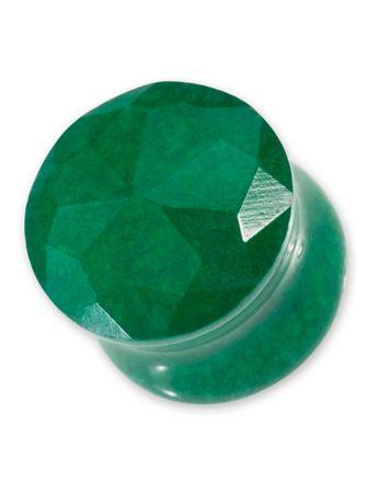 Faceted Ear Plug - Green Jade