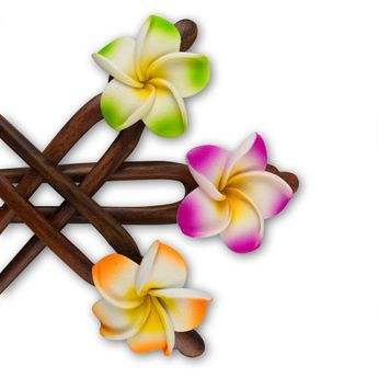 Haarnadel aus Holz mit Hibiskusblüte in verschiedenen Farben