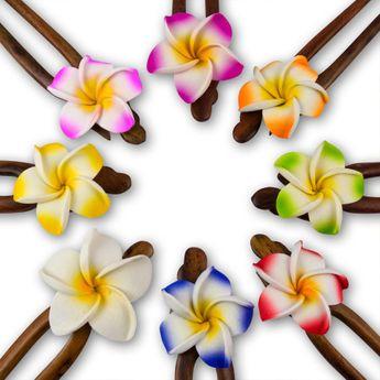 Haarnadel aus Holz mit Hibiskusblüte in verschiedenen Farben – Bild 2