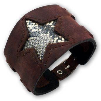 Brown Leather Bracelet with Star from Snakeskin
