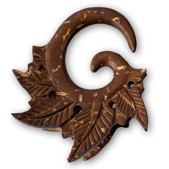 Geschnitzter Kokossnuss Expander - Tribal Leaves