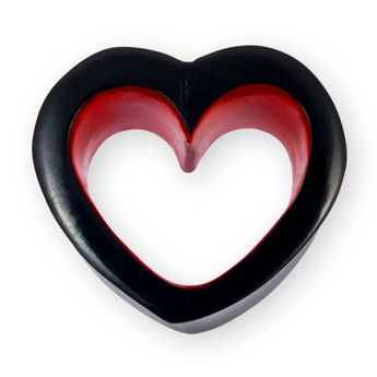 Heart shaped horn flesh tunnel 6-30mm black-red