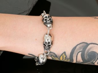 Stainless Steel Bracelet - Wide Grinning Death Heads – picture 4