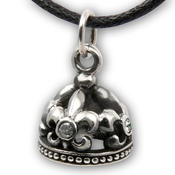 Silver Pendant Crown - Fleur de Lis-  with White Stone