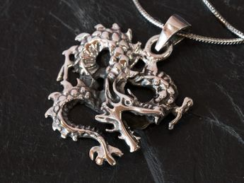 925 Sterling Silver Pendant Chinese Dragon – picture 2