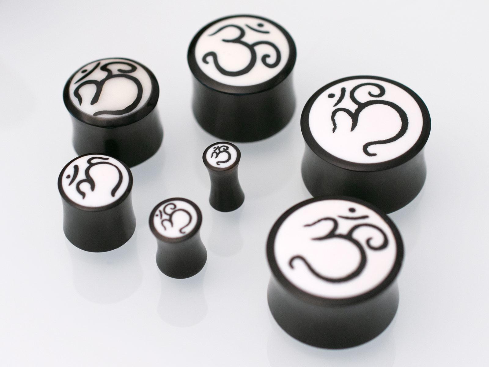 1 Pair Organic Hand Carved Hindu OHM Sanskrit OM Bone Inlay Horn Ear Plug Gauges