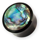 Plugs Flesh Tunnel aus Horn mit Paua Abalone Perlmutt Muschel Inlay 001