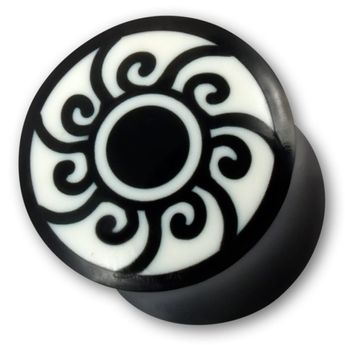 Plugs Flesh Tunnel with Maori Symbol Black Sun
