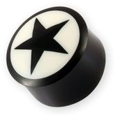 Buffalo horn ear plug with star inlay black-white 6-22 mm
