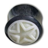"Horn Plug with Bone Inlay ""Carved White Star"" 001"