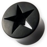 Cut-out Star Horn Ear Plug 6-22mm Black