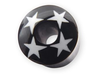Horn Flesh Tunnel with Bone Star Inlays 10-14 mm black and white