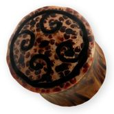 Wood Plug Tribal Horn Spiral 001
