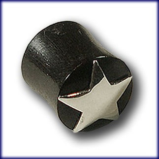 "Horn Plug with Silver Inlay ""Star"""