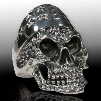 Silver Skull Ring US Biker Stars & Stripes  – picture 2