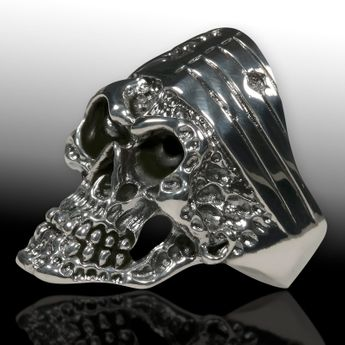 Silver Skull Ring US Biker Stars & Stripes  – picture 3
