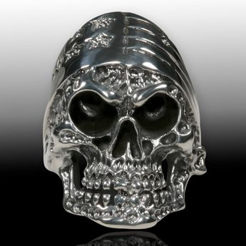 Silver Skull Ring US Biker Stars & Stripes  – picture 4