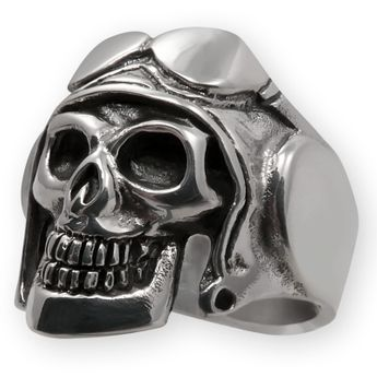 Sterling Silver Skull Ring - Pilot with helmet and aviator glasses – picture 1