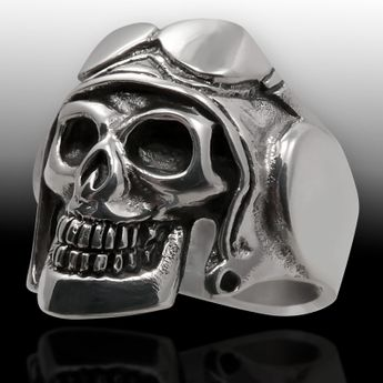 Sterling Silver Skull Ring - Pilot with helmet and aviator glasses – picture 2