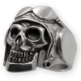 Sterling Silver Skull Ring - Pilot with helmet and aviator glasses
