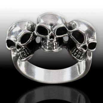 Sterling Silver Ring - Three Skulls – picture 2