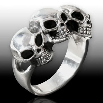 Sterling Silver Ring - Three Skulls – picture 3