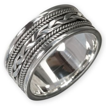 Silver Ring with Celtic Knot Pattern