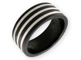 Black and Silver Stainless Steel Band Ring with Stripes 001