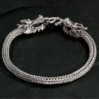 925 Sterling Silver Viking Bracelet with 2 dragon heads