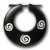 Large Hoop Earrings - White Spirals 001