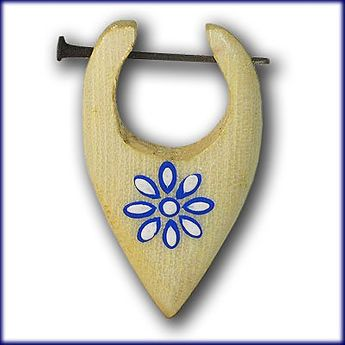 Earrings from Wood - Blue Flower