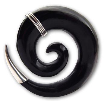 Schwarze Horn Dehnungsspirale mit Silber Applikationen