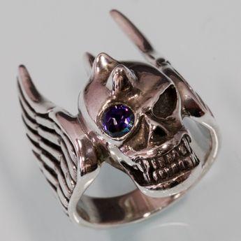 Totenkopf Flügel Ring Silber 925 – Bild 2
