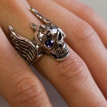 Totenkopf Flügel Ring Silber 925 – Bild 3