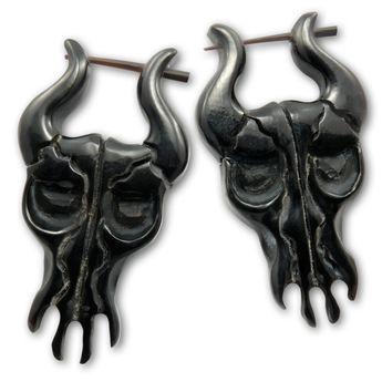 Ohrringe aus Horn - Black Bull