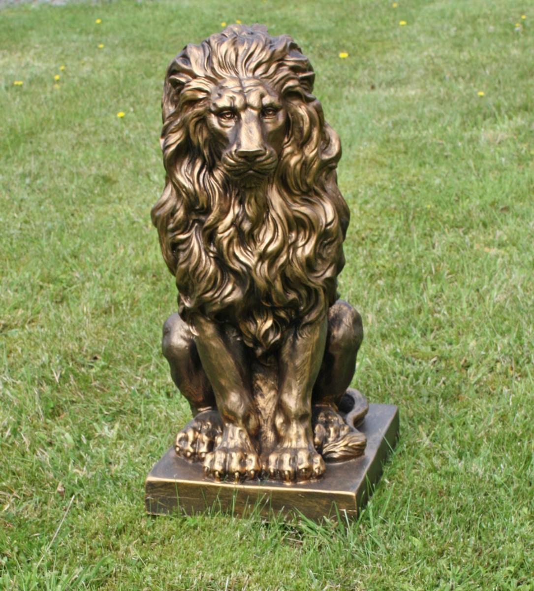 sitzender l we gold 57x27x38cm statue skulptur deko gartenfigur ebay. Black Bedroom Furniture Sets. Home Design Ideas