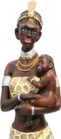 Stolze Afrikanische Massai mit Kind Skulptur Statue handbemalt – Bild 2