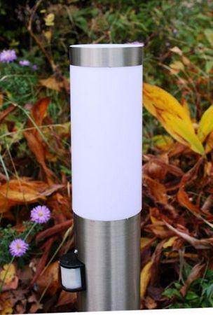 Edelstahl Standleuchte Standlampe Sockelleuchte Außenleuchte H=45cm IF-Sensor – Bild 2