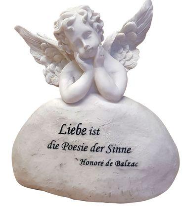 Schutzengel mit Spruch von Balsac, Liebe ist die Poesie der Sinne, Engelsfigur