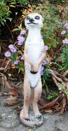 Erdmännchen Dekofigur Gartenfigur 50 cm  Surikate Statue Scharrtier Figur