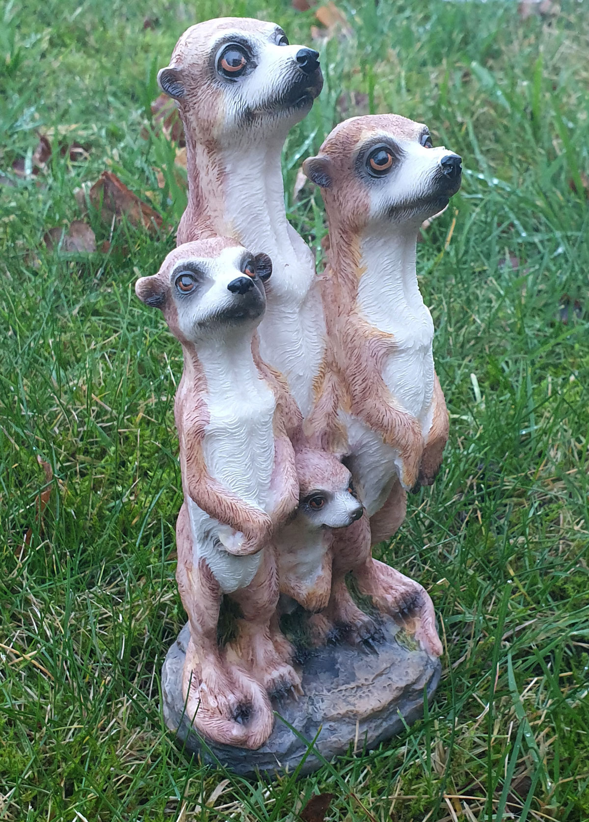 Erdmännchen 4er Paar Scharrtier Skulptur Surikate Statue Figur