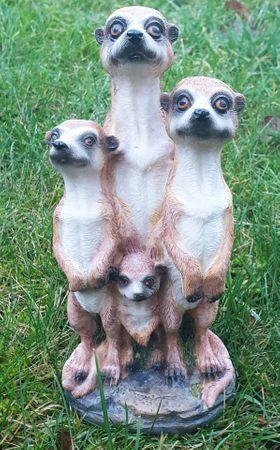 Erdmännchen 4er Paar Scharrtier Skulptur Surikate Statue Figur – Bild 4
