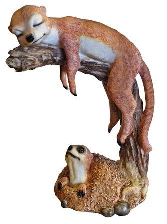 Erdmännchen auf Baumstumpf Scharrtier Skulptur Surikate Statue Figur – Bild 1
