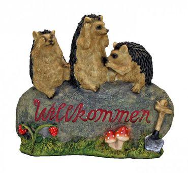 Gartendekoration Willkommenschild 3 Igel auf Stein Außendekoration Tierfigur – Bild 1