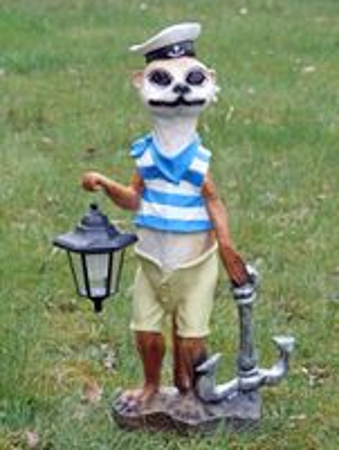 Dekofigur Erdmännchen Matrose mit LED-Solarlampe Scharrtier Skulptur Tierfigur – Bild 1