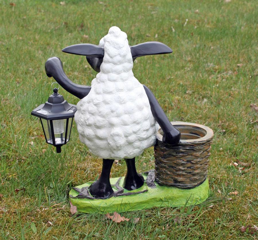 deko schaf mit led lampe und pflanztopf dekofigur. Black Bedroom Furniture Sets. Home Design Ideas