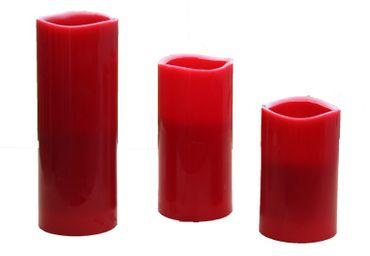LED-Echtwachskerzen rot LED-Kerzen Flackereffekt verschiedene Größen Deko