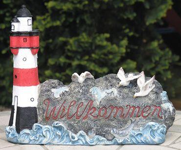 Leuchtturm Willkommenschild maritime Gartendeko Haustür Deko Begrüßung