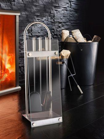Exklusives Kaminbesteck mit Glasplatte, 4tlg-Set, Ofenbesteck, Kaminzubehör