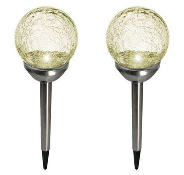 2er Set Kristallglas Premium Solarlampe Leuchte LED Edelstahl Gartenkugel – Bild 1